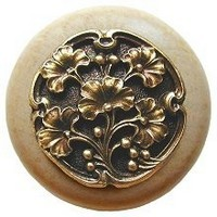 Notting Hill NHW-702N-AB, Gingko Berry Wood Knob in Antique Brass /Natural Wood, Leaves