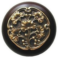 Notting Hill NHW-702W-AB, Gingko Berry Wood Knob in Antique Brass /Dark Walnut Wood, Leaves