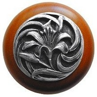 Notting Hill NHW-703C-AP, Tiger Lily Wood Knob in Antique Pewter/Cherry Wood, Floral