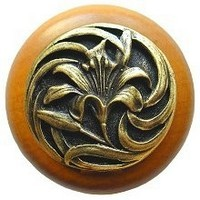 Notting Hill NHW-703M-AB, Tiger Lily Wood Knob in Antique Brass /Maple Wood, Floral