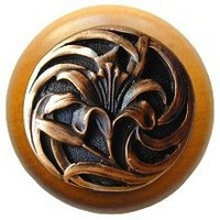 Notting Hill NHW-703M-AC, Tiger Lily Wood Knob in Antique Copper/Maple Wood, Floral
