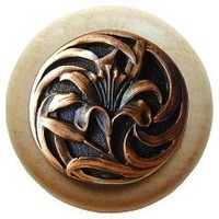 Notting Hill NHW-703N-AC, Tiger Lily Wood Knob in Antique Copper/Natural Wood, Floral