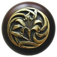 Notting Hill NHW-703W-AB, Tiger Lily Wood Knob in Antique Brass /Dark Walnut Wood, Floral