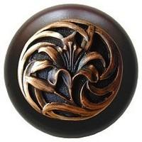 Notting Hill NHW-703W-AC, Tiger Lily Wood Knob in Antique Copper/Dark Walnut Wood, Floral
