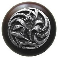 Notting Hill NHW-703W-AP, Tiger Lily Wood Knob in Antique Pewter/Dark Walnut Wood, Floral