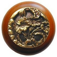 Notting Hill NHW-704C-AB, Hibiscus Wood Knob in Antique Brass /Cherry Wood, Floral