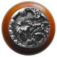 Notting Hill NHW-704C-AP, Hibiscus Wood Knob in Antique Pewter/Cherry Wood, Floral