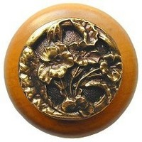Notting Hill NHW-704M-AB, Hibiscus Wood Knob in Antique Brass /Maple Wood, Floral