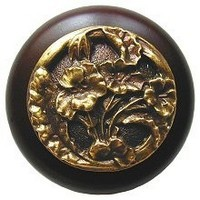 Notting Hill NHW-704W-AB, Hibiscus Wood Knob in Antique Brass /Dark Walnut Wood, Floral