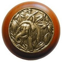 Notting Hill NHW-705C-AB, Jungle Patrol Wood Knob in Antique Brass /Cherry Wood, All Creatures
