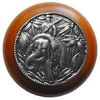 Notting Hill NHW-705C-AP, Jungle Patrol Wood Knob in Antique Pewter/Cherry Wood, All Creatures