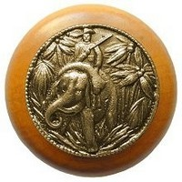 Notting Hill NHW-705M-AB, Jungle Patrol Wood Knob in Antique Brass /Maple Wood, All Creatures