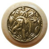 Notting Hill NHW-705N-AB, Jungle Patrol Wood Knob in Antique Brass/Natural Wood, All Creatures