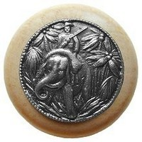 Notting Hill NHW-705N-AP, Jungle Patrol Wood Knob in Antique Pewter/Natural Wood, All Creatures
