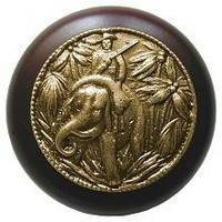 Notting Hill NHW-705W-AB, Jungle Patrol Wood Knob in Antique Brass/Dark Walnut Wood, All Creatures