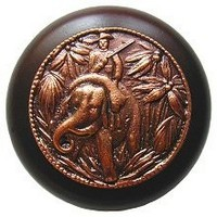 Notting Hill NHW-705W-AC, Jungle Patrol Wood Knob in Antique Copper/Dark Walnut Wood, All Creatures