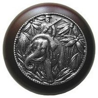 Notting Hill NHW-705W-AP, Jungle Patrol Wood Knob in Antique Pewter/Dark Walnut Wood, All Creatures