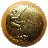 Notting Hill NHW-707M-AB, Catch Of The Day Wood Knob in Antique Brass /Maple Wood, Great Outdoors