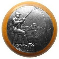 Notting Hill NHW-707M-AP, Catch Of The Day Wood Knob in Antique Pewter/Maple Wood, Great Outdoors