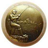 Notting Hill NHW-707N-AB, Catch Of The Day Wood Knob in Antique Brass /Natural Wood, Great Outdoors