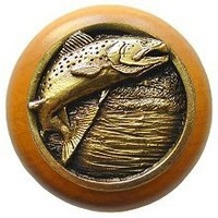 Notting Hill NHW-708M-AB, Leaping Trout Wood Knob in Antique Brass /Maple Wood, Great Outdoors