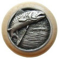 Notting Hill NHW-708N-AP, Leaping Trout Wood Knob in Antique Pewter/Natural Wood, Great Outdoors