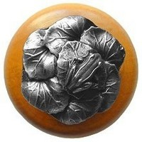 Notting Hill NHW-709M-AP, Leap Frog Wood Knob in Antique Pewter/Maple Wood, All Creatures