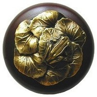 Notting Hill NHW-709W-AB, Leap Frog Wood Knob in Antique Brass/Dark Walnut Wood, All Creatures