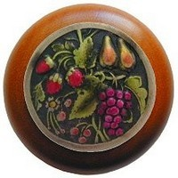 Notting Hill NHW-713C-BHT, Tuscan Bounty Wood Knob in Hand-Tinted Antique Brass/Cherry Wood, Tuscan