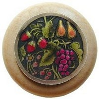 Notting Hill NHW-713N-BHT, Tuscan Bounty Wood Knob in Hand-Tinted Antique Brass/Natural Wood, Tuscan