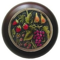 Notting Hill NHW-713W-BHT, Tuscan Bounty Wood Knob in Hand-Tinted Antique Brass/Dark Walnut Wood, Tuscan