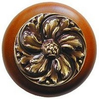 Notting Hill NHW-714C-AB, Chrysanthemum Wood Knob in Antique Brass /Cherry Wood, English Garden
