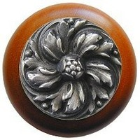 Notting Hill NHW-714C-AP, Chrysanthemum Wood Knob in Antique Pewter/Cherry Wood, English Garden