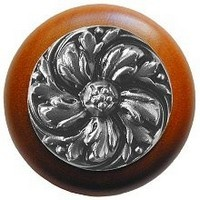 Notting Hill NHW-714C-SN, Chrysanthemum Wood Knob in Satin Nickel/Cherry Wood, English Garden
