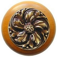 Notting Hill NHW-714M-AB, Chrysanthemum Wood Knob in Antique Brass/Maple Wood, English Garden