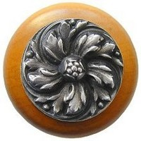 Notting Hill NHW-714M-AP, Chrysanthemum Wood Knob in Antique Pewter/Maple Wood, English Garden