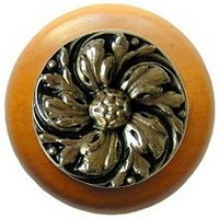 Notting Hill NHW-714M-BB, Chrysanthemum Wood Knob in Brite Brass/Maple Wood, English Garden