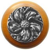 Notting Hill NHW-714M-SN, Chrysanthemum Wood Knob in Satin Nickel/Maple Wood, English Garden