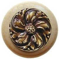 Notting Hill NHW-714N-AB, Chrysanthemum Wood Knob in Antique Brass/Natural Wood, English Garden