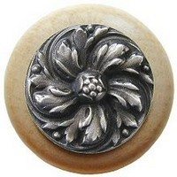Notting Hill NHW-714N-AP, Chrysanthemum Wood Knob in Antique Pewter/Natural Wood, English Garden