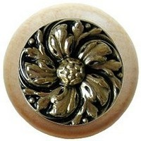 Notting Hill NHW-714N-BB, Chrysanthemum Wood Knob in Brite Brass/Natural Wood, English Garden