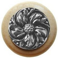 Notting Hill NHW-714N-SN, Chrysanthemum Wood Knob in Satin Nickel/Natural Wood, English Garden