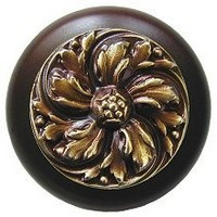 Notting Hill NHW-714W-AB, Chrysanthemum Wood Knob in Antique Brass/Dark Walnut Wood, English Garden