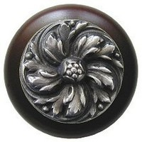 Notting Hill NHW-714W-AP, Chrysanthemum Wood Knob in Antique Pewter/Dark Walnut Wood, English Garden