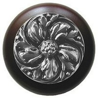 Notting Hill NHW-714W-SN, Chrysanthemum Wood Knob in Satin Nickel/Dark Walnut Wood, English Garden