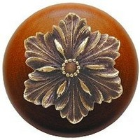 Notting Hill NHW-725C-AB, Opulent Flower Wood Knob in Antique Brass/Cherry Wood, Classic