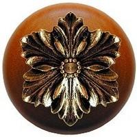 Notting Hill NHW-725C-BB, Opulent Flower Wood Knob in Brite Brass/Cherry Wood, Classic