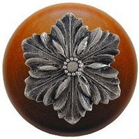 Notting Hill NHW-725C-SN, Opulent Flower Wood Knob in Satin Nickel/Cherry Wood, Classic