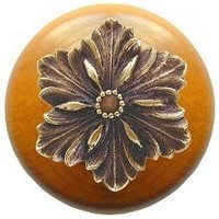 Notting Hill NHW-725M-AB, Opulent Flower Wood Knob in Antique Brass/Maple Wood, Classic