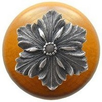 Notting Hill NHW-725M-AP, Opulent Flower Wood Knob in Antique Pewter/Maple Wood, Classic